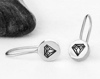 Diamond Earrings, Diamond Jewelry, Diamonds, Sterling Silver, Recycled Metal, Earrings, Silver Earrings, Silver Diamond, e247s