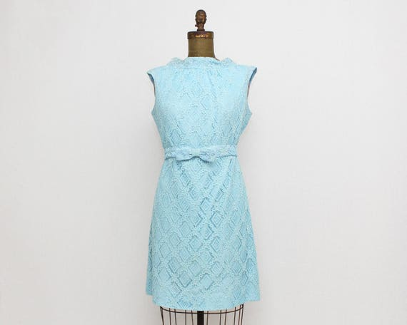 Vintage 1960s Blue Lace Shift Dress - Size Large