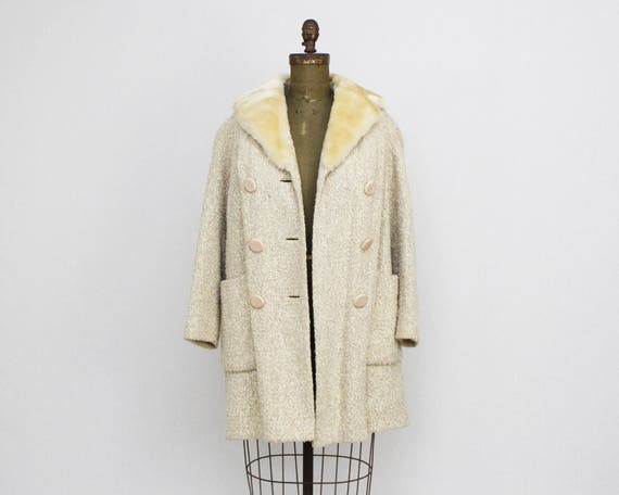 Vintage 1950s Cream Wool Swing Coat - Size Large