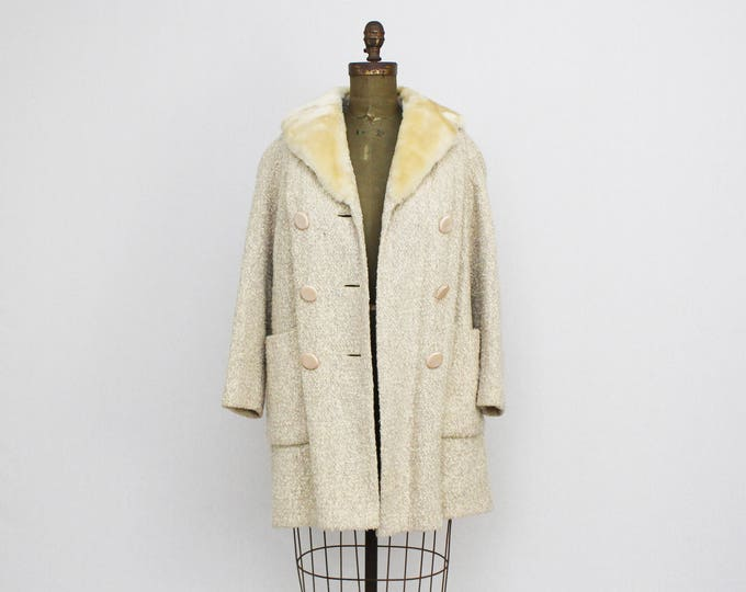 Vintage 1950s Cream Wool Swing Coat - Size Large