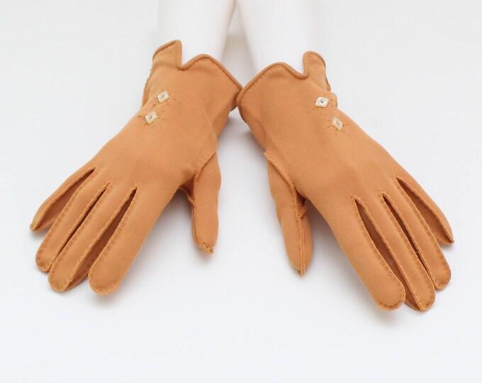 Vintage 1950s Orange Short Gloves - Size 6.5