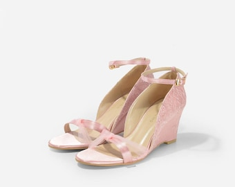 Meredith Custom Made Satin Lace Ankle Wedding Heels, Blush Ankle Strap Heels, Pink Satin Bridal Heels, Lace Pink Satin Heels