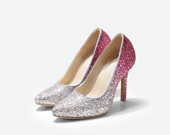 Oklahoma Silver Gradient Pointy Pumps, Custom Made Ombre Pink Glitter Pumps, Silver Glitter Ombre Wedding Heels