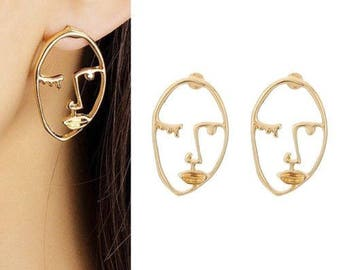 Unique Hollow Human Face earrings Tumblr artist style art inspired jewelry gold Design ear ring Fashion aesthetic valentines day gift