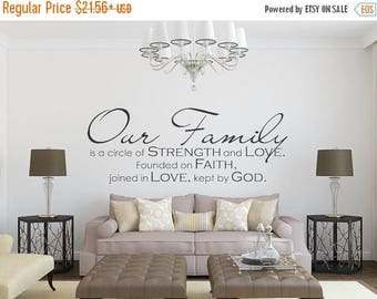 CLEARANCE SALE Family Wall Decal- Our Family - Family Quote - Family Wall Sign Vinyl Wall Decal - Christian Wall Decals