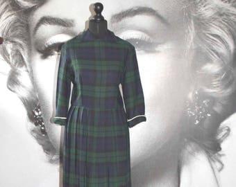 vintage 30's 40's wool check dress warbride vintage dress tartan pleated alexa collar
