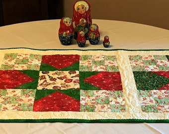 "Christmas Table Runner Quilted 22"" x 59"""