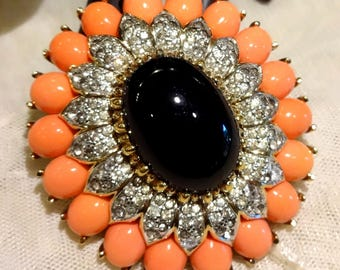 Large  Vintage Panetta Coral Coloured and Black Glass Rhinestone Brooch
