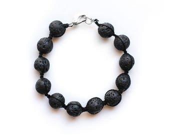 Unisex Woven Essential Oil Diffuser Bracelet made with Lava Stone; unisex diffuser bracelet, lava stone diffuser bracelet, christmas gifts