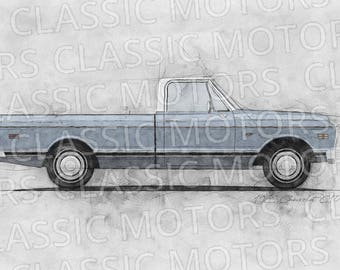1969 Chevrolet C10 Truck - 11x17 inch Sketch - Digital Download