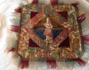 Antique victorian pillow, crazy quilt, handmade