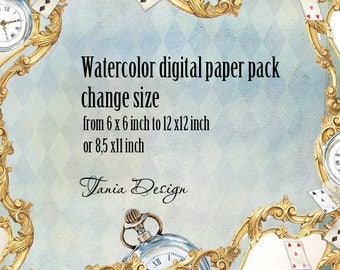 Watercolor digital paper packs-Change Size - From 6 x 6 to 12 x 12 Inches or 8,5x11 inch -Tania Design