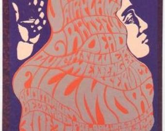 Original 1966 Jefferson Airplane Grateful Dead Bill Graham BG037 Handbill
