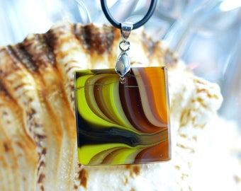 FREE SHIPPING, Pendant, Fused glass jewelry, One of a kind,  Pendant in amber tones, Sweetheart, Heady glass pendant,  Jewelry for women