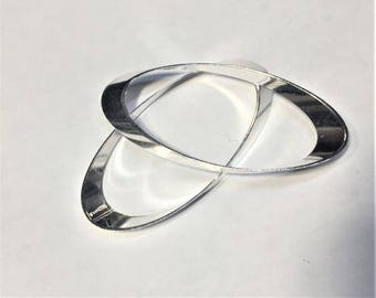 SALE: 2 Sterling Silver Filled Oval Focals,  44x20mm