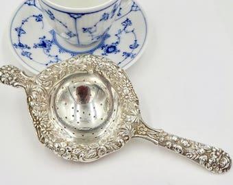 Vintage STERLING TEA STRAINER S. Kirk & Son Sterling Silver Repousse Over Cup Tea Strainer