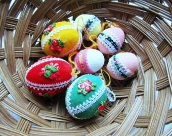 Collection of 7 Easter ornaments vintage eggs for Easter decoration, German vintage