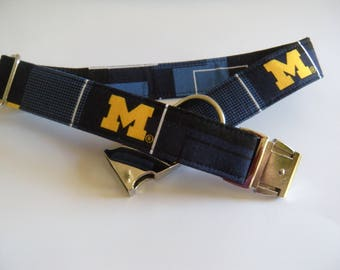 University of Michigan Dog Collar with Metal Buckle - Aluminum Buckle, Puppy, Handmade, Silver Buckle, UofM, Go Blue