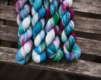 Fernan 4 ply Hand dyed Superwash Merino Fingering Weight Yarn Mini Skeins