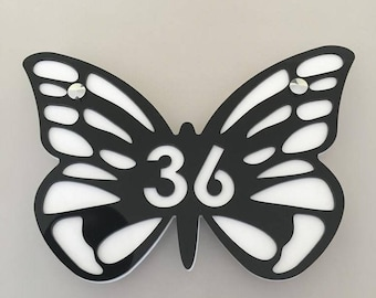 Butterfly House or Shop Sign - Several Colour Choices - Includes Chrome Fixing Kit