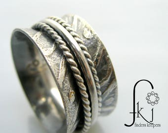 Silver Spinner Ring, Etched with Swirl and Dot Detail, 3 Silver Spinners, Wide Band, Size 8.5, Fidget Ring, Anxiety Ring, Spinning Ring