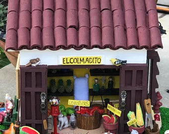 Colmadito/Miniature Market.Doll house.  Diorama miniature market.Puerto Rico colmadito.El Campo. Artesania de Puerto Rico.Christmas gift.