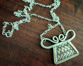 Woven Soul Lock Necklace Fine Silver Thailand Hill Tribe Amulet Pendant Hmong Jewelry Xauv