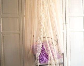 Cream Tulle and Lace Baldachin -  Play Canopy, Crib Canopy, Kids canopy, Nursery canopy, Bed canopy, Play room canopy, Hanging Canopy, Nook
