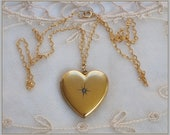 Antique Victorian Heart Locket Necklace . Diamond Chip Starburst Pendant .  14K Gold Filled Chain - Circa 1903