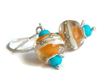 Summer Orange Turquoise Lampwork Earrings // Artisan Earrings // Vibrant Earrings // Luxe Glass Jewelry