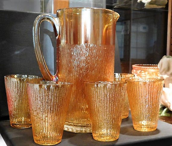 Antique Carnival Glass TREE BARK Pitcher Tumblers Set Marigold 1930s 30s Art Deco Country Farm Farmhouse Cottage Home Decor Wedding Table