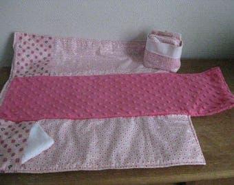 Matelas à langer pliable nomade 3 tissus rose pastel coordonnés et minky cadeau de naissance bébé fille