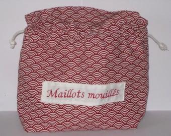 Sac  motif vagues rouge imperméable, sac piscine, sac à maillot pour retour piscine ou plage avec maillots de bain mouillés, Bikini Wet-sac