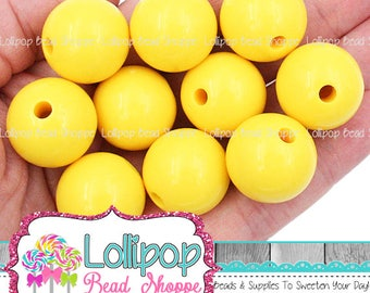 Yellow Beads, 20mm Beads, Gumball Beads, Round Beads, Chunky Beads, Bubblegum Beads, Acrylic Beads, Jewelry Supplies, Craft Supplies, Qty 10