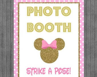 FLASH SALE Minnie Mouse Birthday Sign, Photo Booth , Pink and Gold