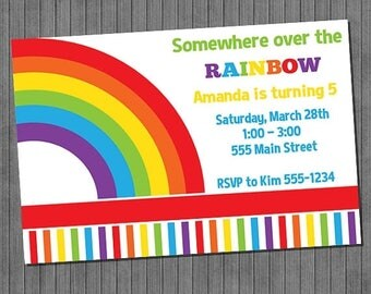 FLASH SALE Rainbow Fun Birthday Invitation