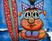 Pookie the Surf Pig Art Print, by John Donato, Whimsical Pig at the Beach