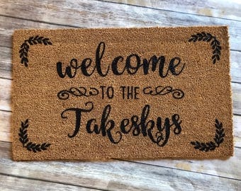 Welcome to the... front doormat!  Personalized