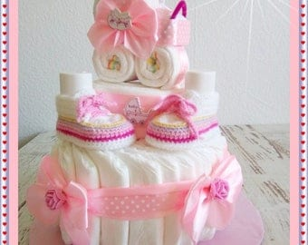 Diaper cake diaper diaper cake baby carriage stroller baby shoes