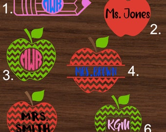 Personalized Apple or Pencil Monogram Decal | School Yeti Decal | Monogrammed RTIC Decal | Teacher Car Decal | Customized Decal