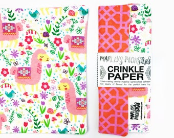 CRINKLE PAPER baby toy. Pink lamas. Sensory toy for the perfect baby shower gift!