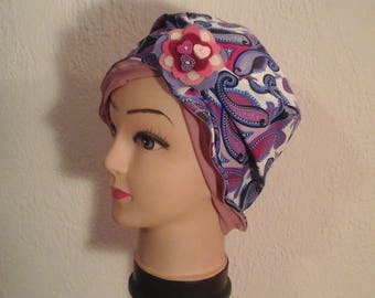 Reversible, stretch, multicolored chemo hat, mid summer, wife, daughter