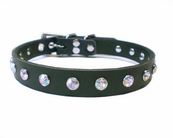 "5/8"" Black Vegan ""Leather"" BDSM Collar with Pink, Red, or White Crystals/Gems - choker 4 fetish slave or submissive, synthetic leather"