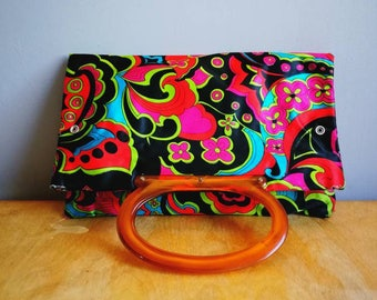 Vintage 60s shopper bag / psychedelic 60s tote / retro summer bag / fold down purse / large or small / 60s top handle purse / 60s kings road