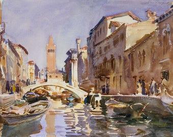 "John Singer Sargent : ""Venetian Canal"" (1913) - Giclee Fine Art Print"