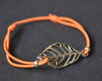 Leaf bracelet orange cord