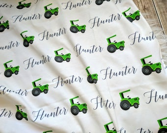 Personalized tractor swaddle blanket: baby and toddler personalized name newborn hospital gift baby shower gift