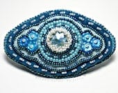 Turquoise Blue, Mosaic Abalone Shell, Leather Beaded Hair Barrette, Limited Edition Bead Art Hair Accessory