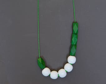 Assymetric necklace Boho necklace Beadwork necklace Green necklace White necklace Geometric necklace Wooden Glass necklace Metal free