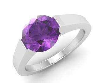 1.20 Carat Amethyst Engagement Ring, 14K White Gold, Anniversary Ring, Wedding Ring, Solitaire Engagement Ring, Promise Ring, Amethyst Ring